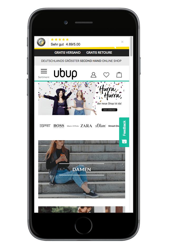 neuer momox fashion Shop mobile Ansicht