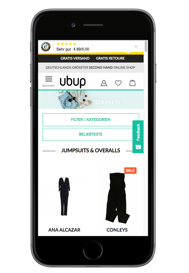 neuer ubup Shop mobile Ansicht