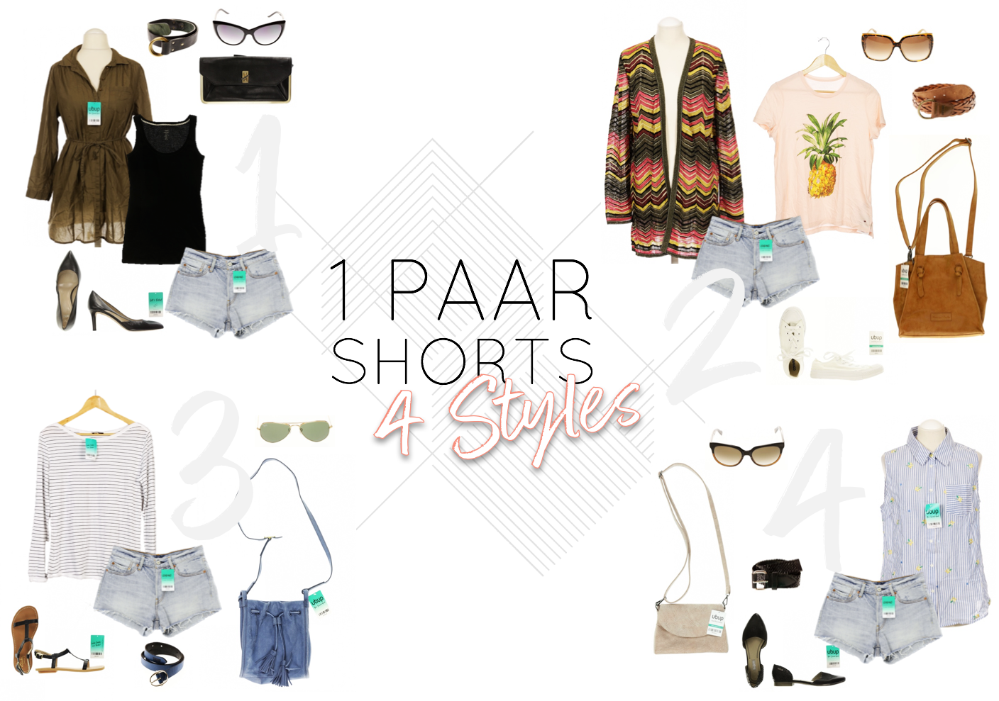 1 Paar Shorts - 4 Second Hand Styles