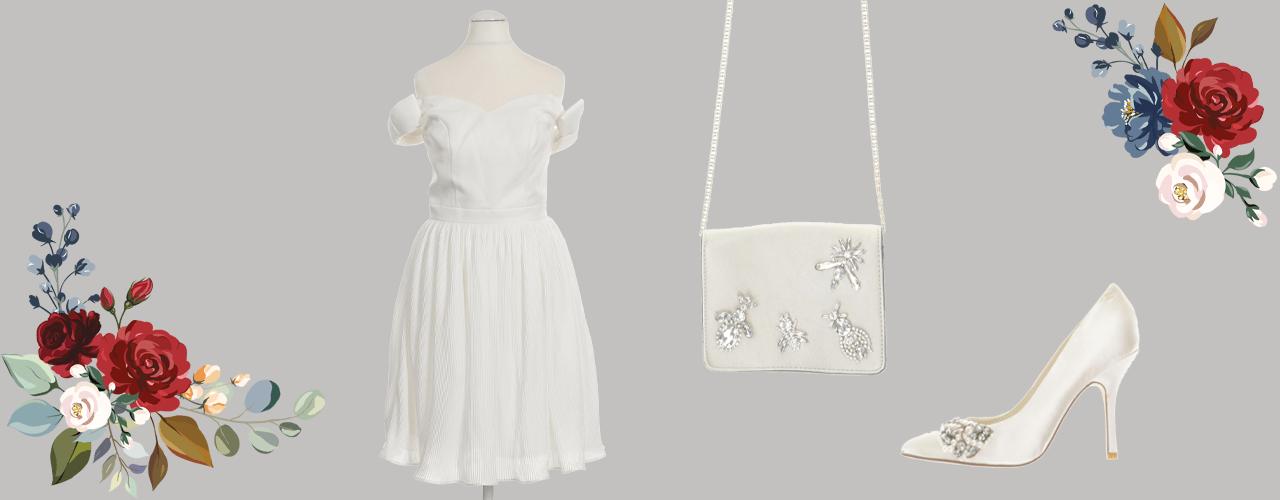 Second Hand Brautkleid mit Handtasche und Pumps