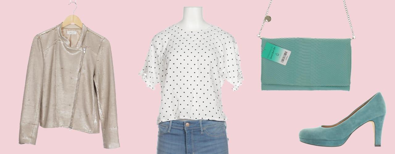 Outfit mit gepunkteter Bluse, Blouson und Accessoires in Türkis