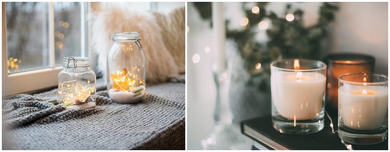 Kerzen und Lichterketten für eine gemütliche Atmosphäre